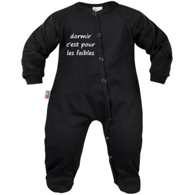 pyjama-bebe-noir-avec-message-dormir-c-est-pour-les-faibles